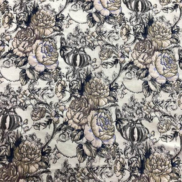 beige floral upholstery fabrics