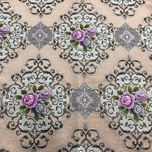 pink floral chenille fabric
