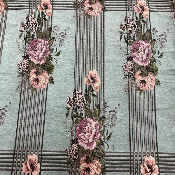 teal floral upholstery fabric